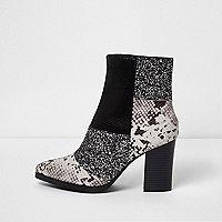 Black glitter and snake block heel boots