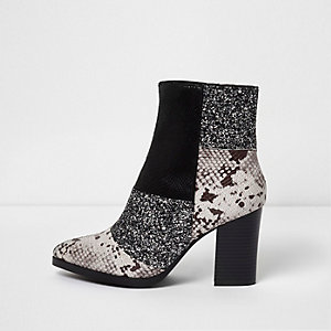 Black glitter and snake block heel boots
