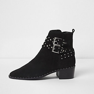 Black studded buckle side suede ankle boots