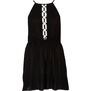 Black ring front halterneck beach dress