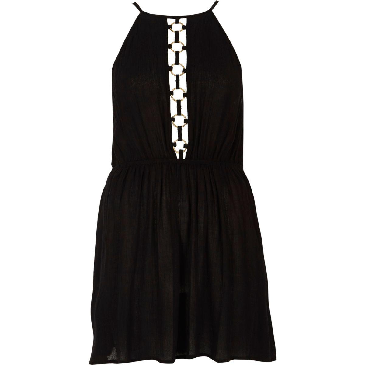 Black ring front halterneck beach dress