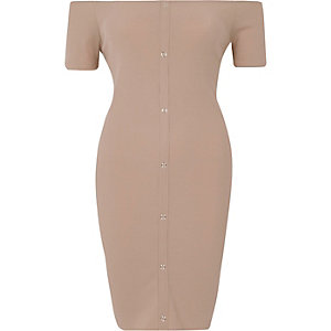 Beige rib popper front bardot mini dress