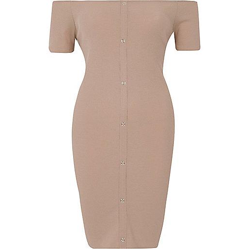 Beige rib popper front bardot mini dress