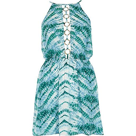 Blue tie dye ring halterneck beach dress