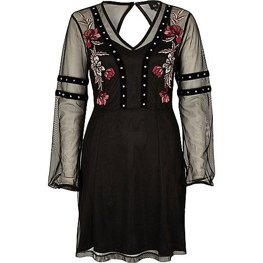 Black mesh stud trim embroidered dress