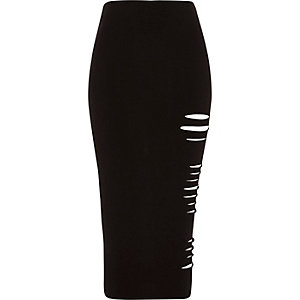 Black cut out bodycon midi jersey skirt