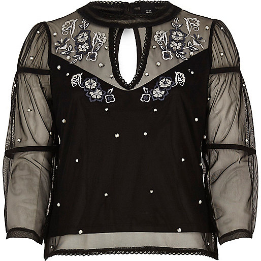 Black mesh embroidered long sleeve top