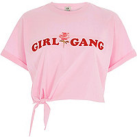 Pink 'girl gang' knot front cropped T-shirt