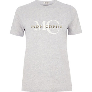 Grey 'mon coeur' print fitted T-shirt
