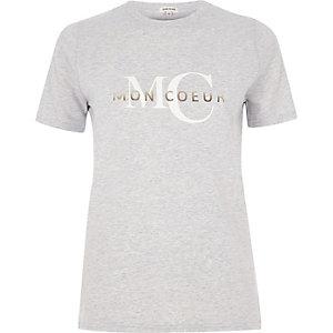Grijs aansluitend T-shirt met 'mon coeur'-print
