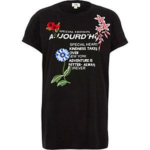 Zwart T-shirt met 'aujourd'hui'-print en applicatie