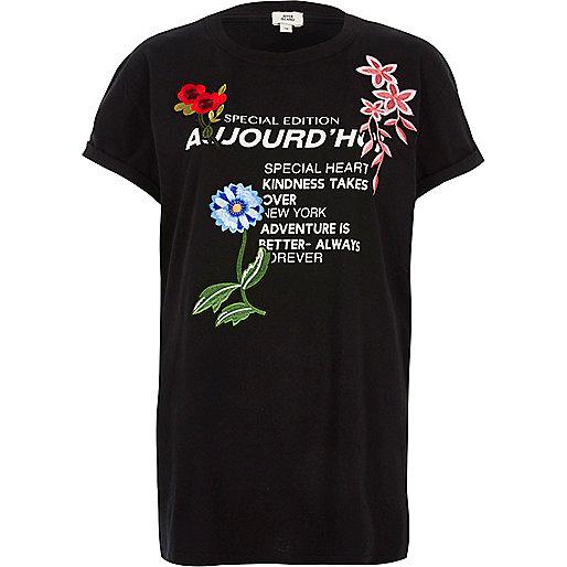 Black 'aujourd'hui' print applique T-shirt