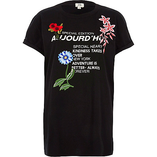 T-shirt imprimé « aujourd'hui » noir avec empiècement appliqué