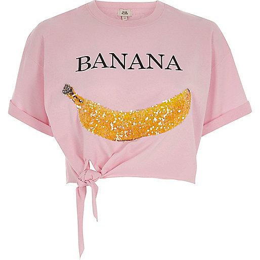 Pink 'Banana' knot front cropped T-shirt