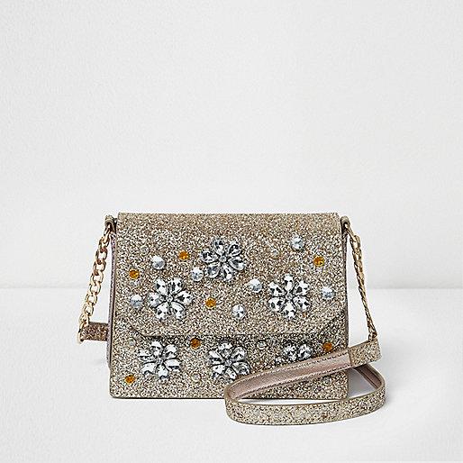 Gold glitter embellished cross body chain bag