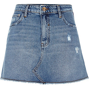 Middenblauwe denim distressed minirok