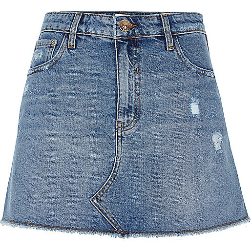 Mid blue denim distressed mini skirt