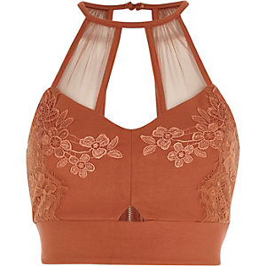 Rust orange lace and mesh bralet