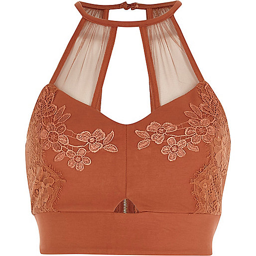 Rust orange lace and mesh bralette