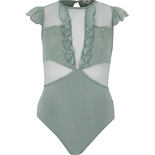 Green dobby mesh frill bodysuit