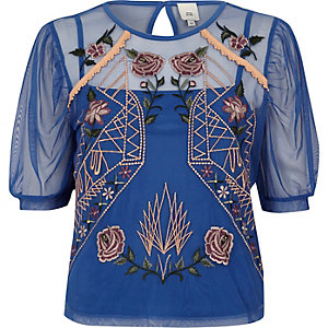 Blue mesh floral embroidered short sleeve top