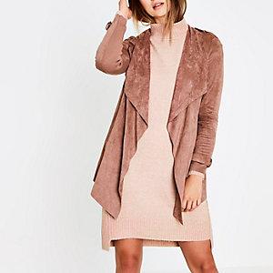 Roze gedrapeerde jas van imitatiesuède