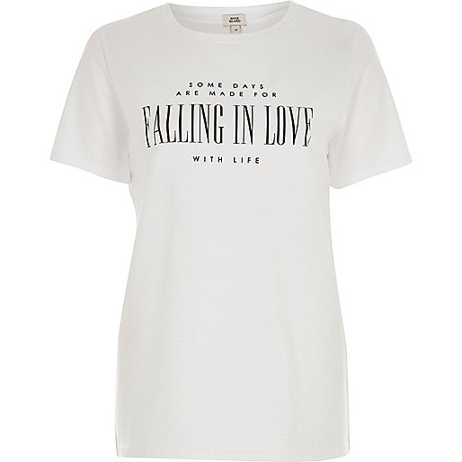 White 'falling in love' print fitted T-shirt