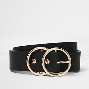 Black double ring buckle waist belt