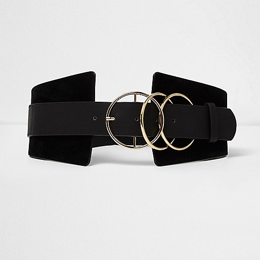 Black triple ring wide waist belt