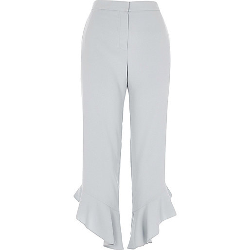 Blue frill hem straight leg cropped trousers