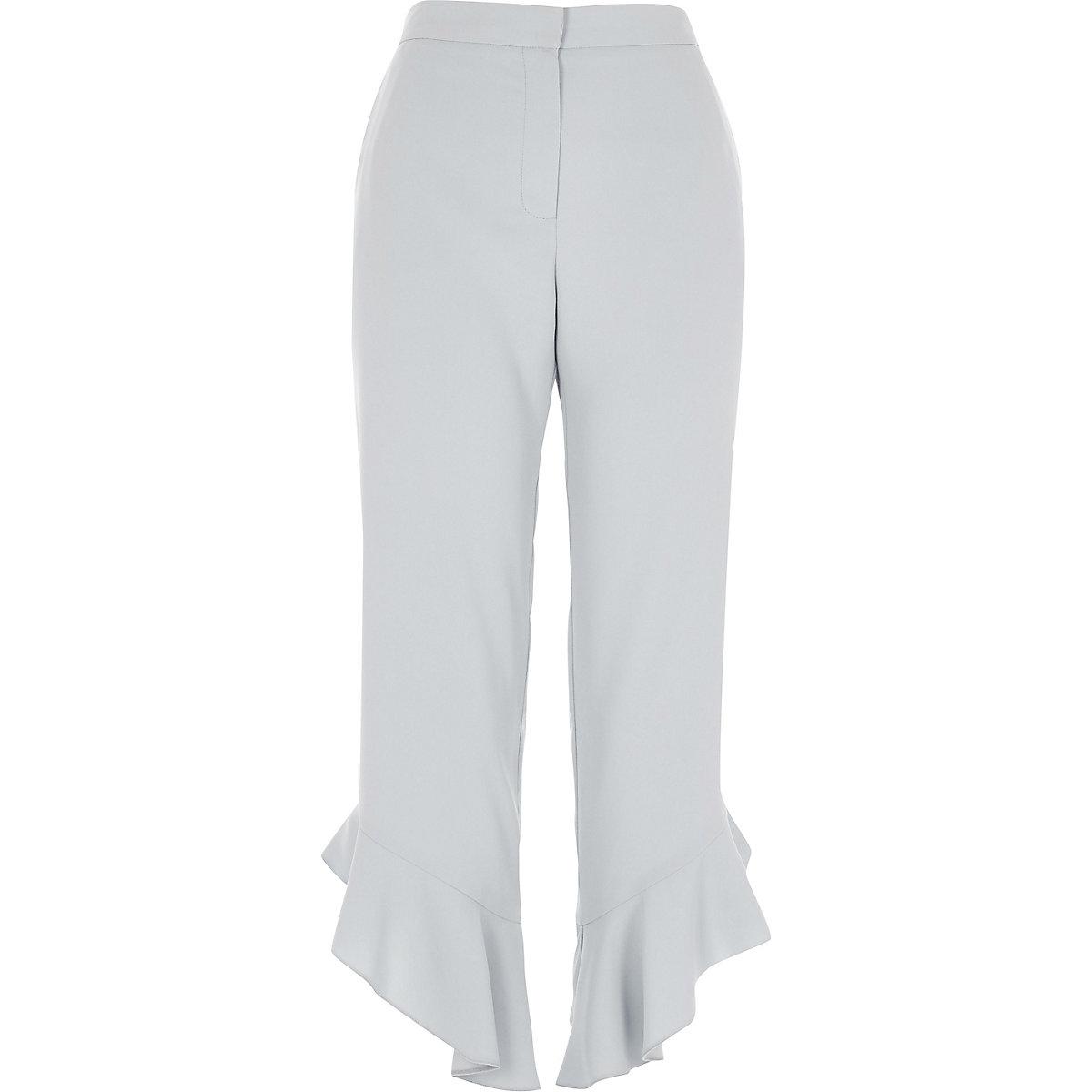 Blue frill hem straight leg cropped pants