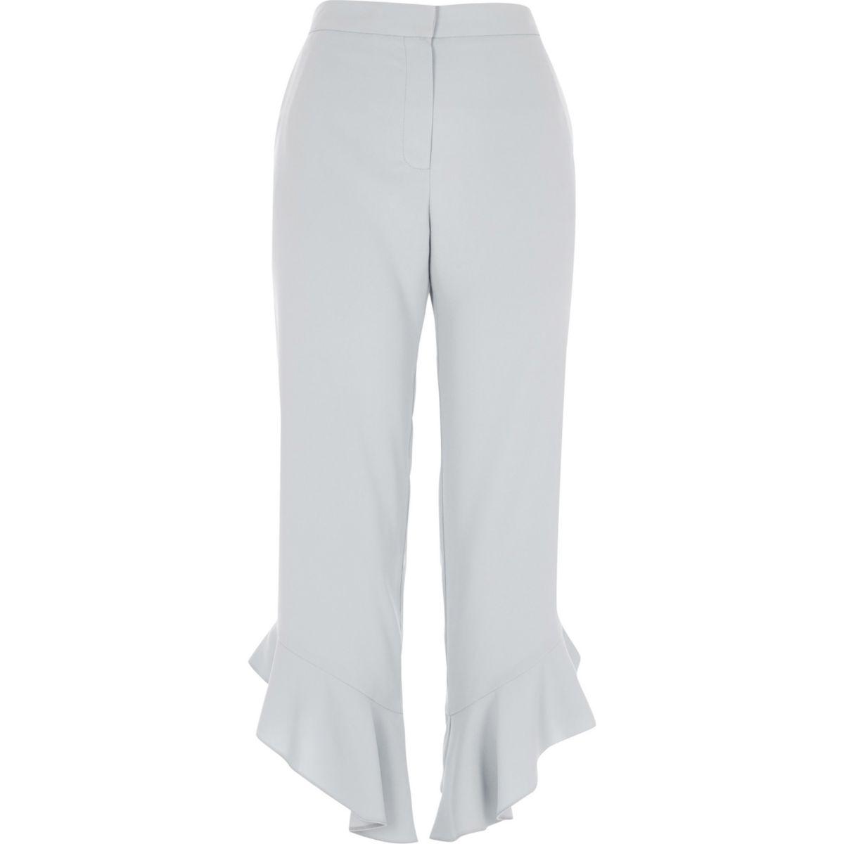 Blue frill hem straight leg cropped trousers