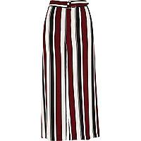 Burgundy stripe wide leg belted culottes