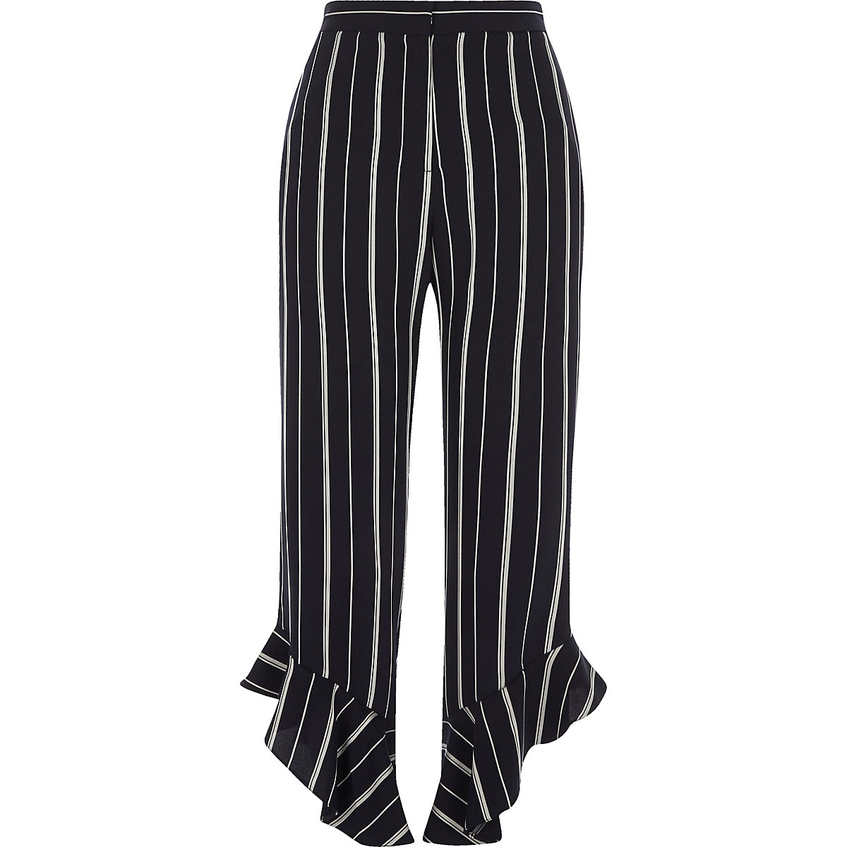 Navy stripe frill hem cropped pants