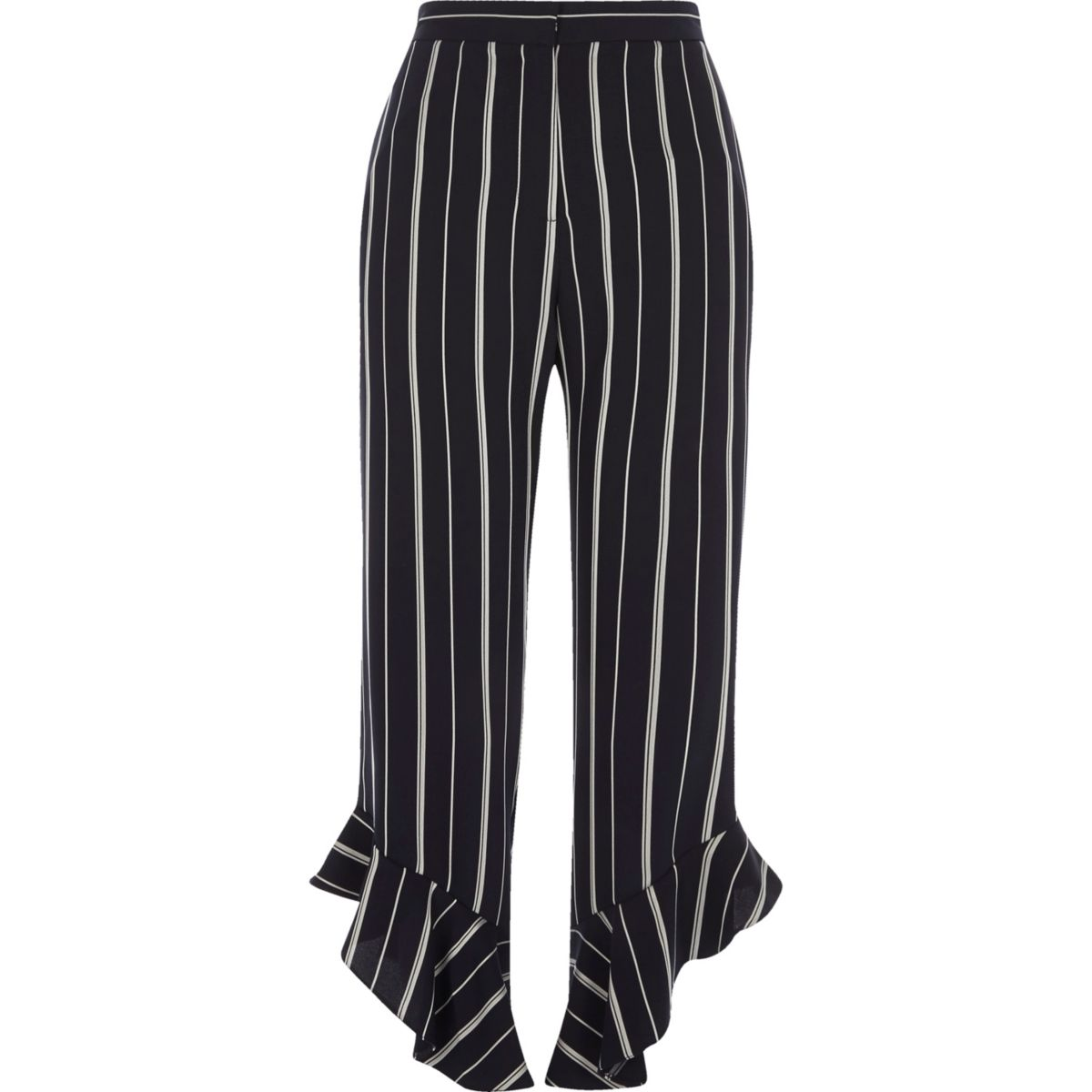 Navy stripe frill hem cropped trousers