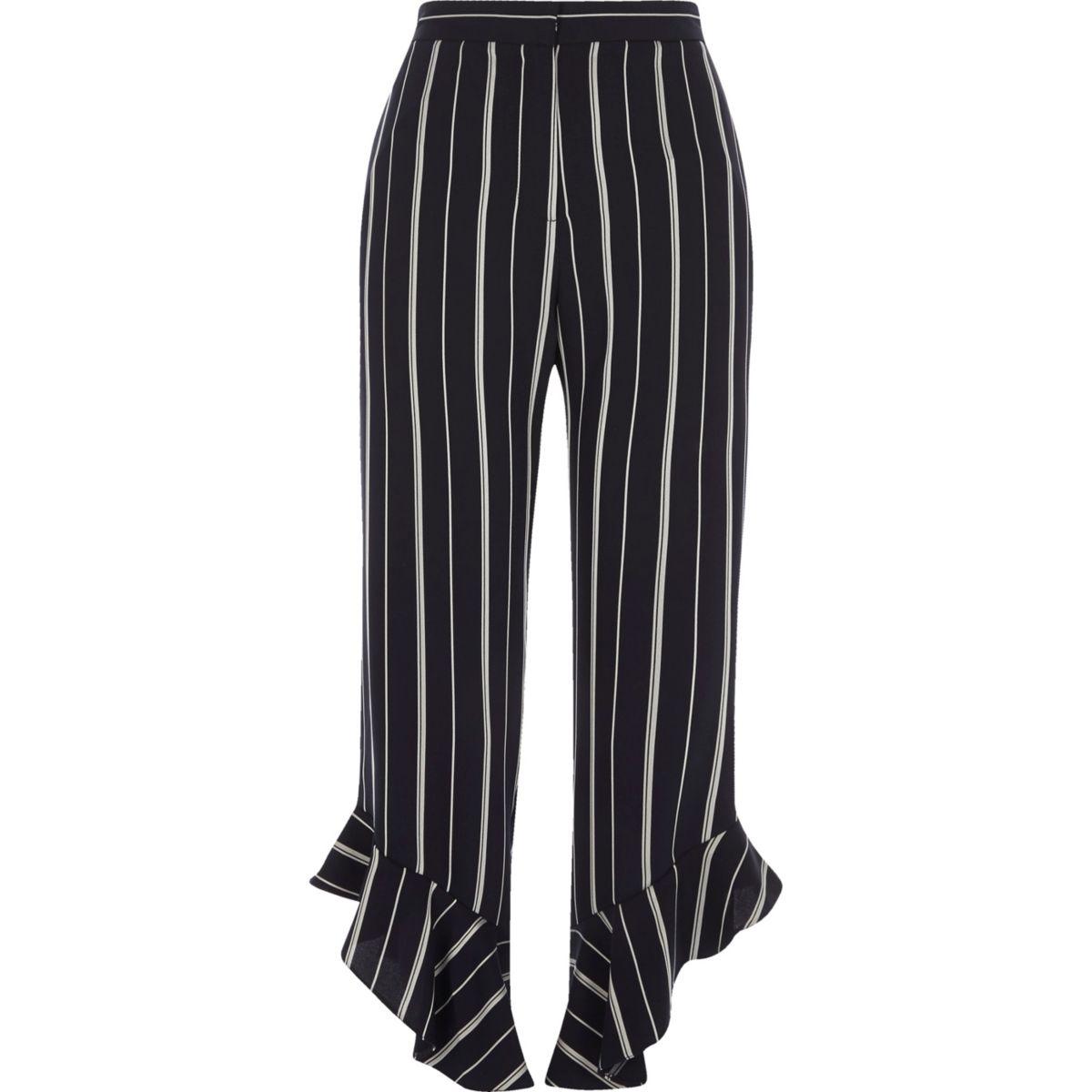 Navy stripe frill hem cropped pants