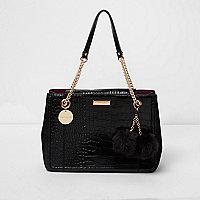 Zwarte handtas met krokodillenreliëf en ketting