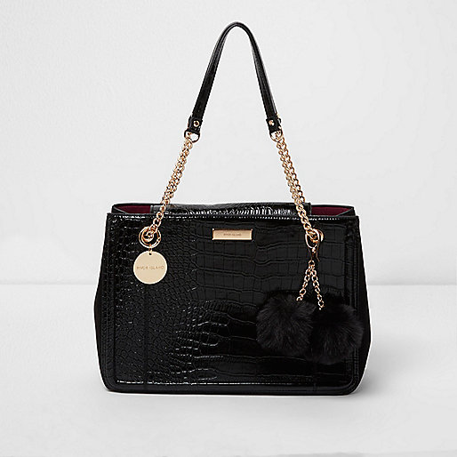 Black croc embossed chain tote bag