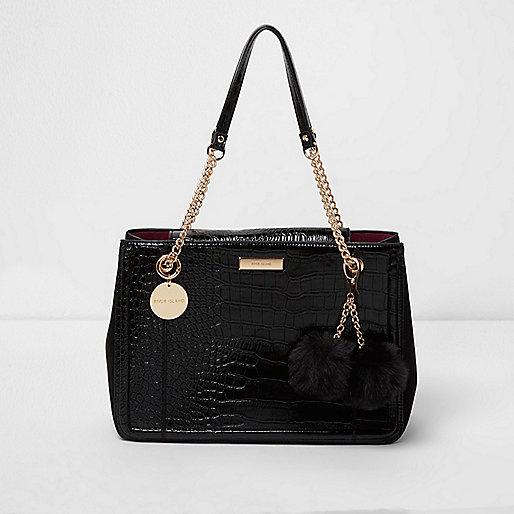 Black croc embossed chain tote bag