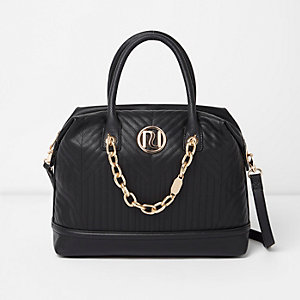 Black quilted chain detail bowler bag