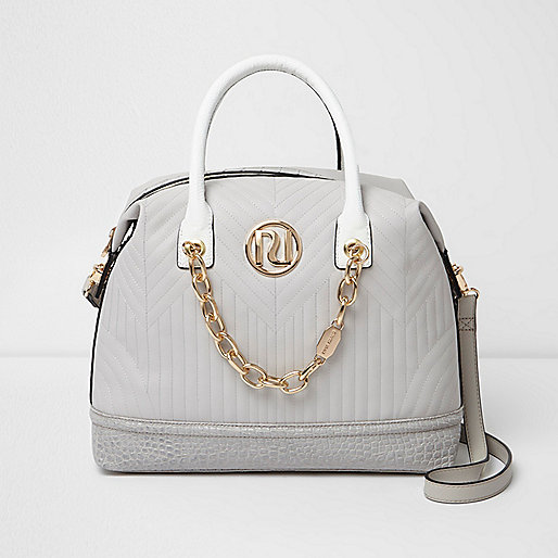 Grey quilted chain front bowler bag