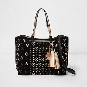 Zwarte handtas met zij-inzetten, schakels en studs