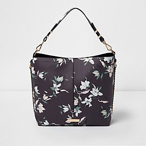 Black floral studded underarm slouch bag