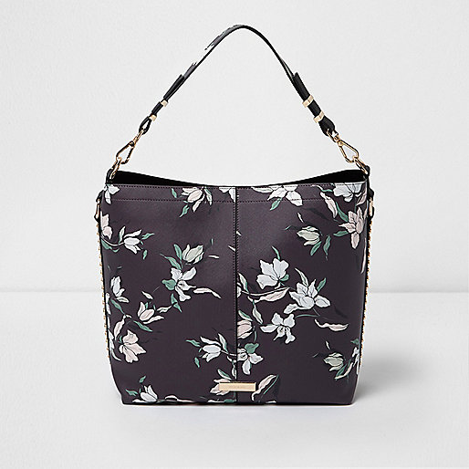Black floral studded underarm slouch bag