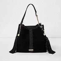 Black studded tassel underarm slouch bag