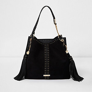 Black studded tassel underarm slouch bag