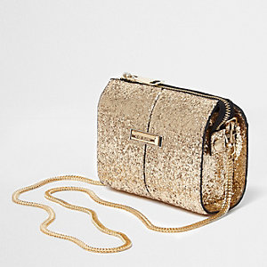 Gold glitter cross body chain bag