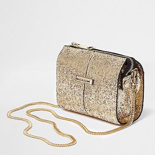 Gold glitter cross body chain bag