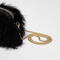 Black feather cross body chain bag