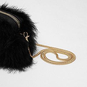 Sac à bandoulière chaîne noir orné de plumes